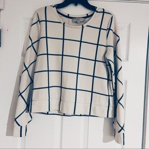 Ann Taylor Loft Black & White Plaid Sweater